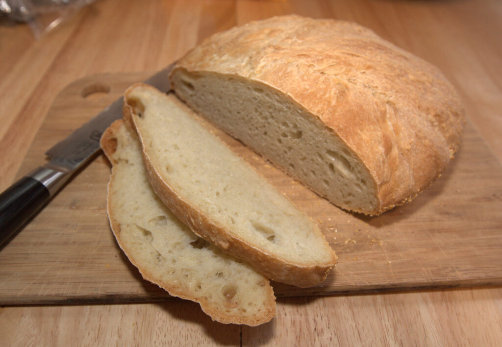 a loaf of sourdough bread sliced.