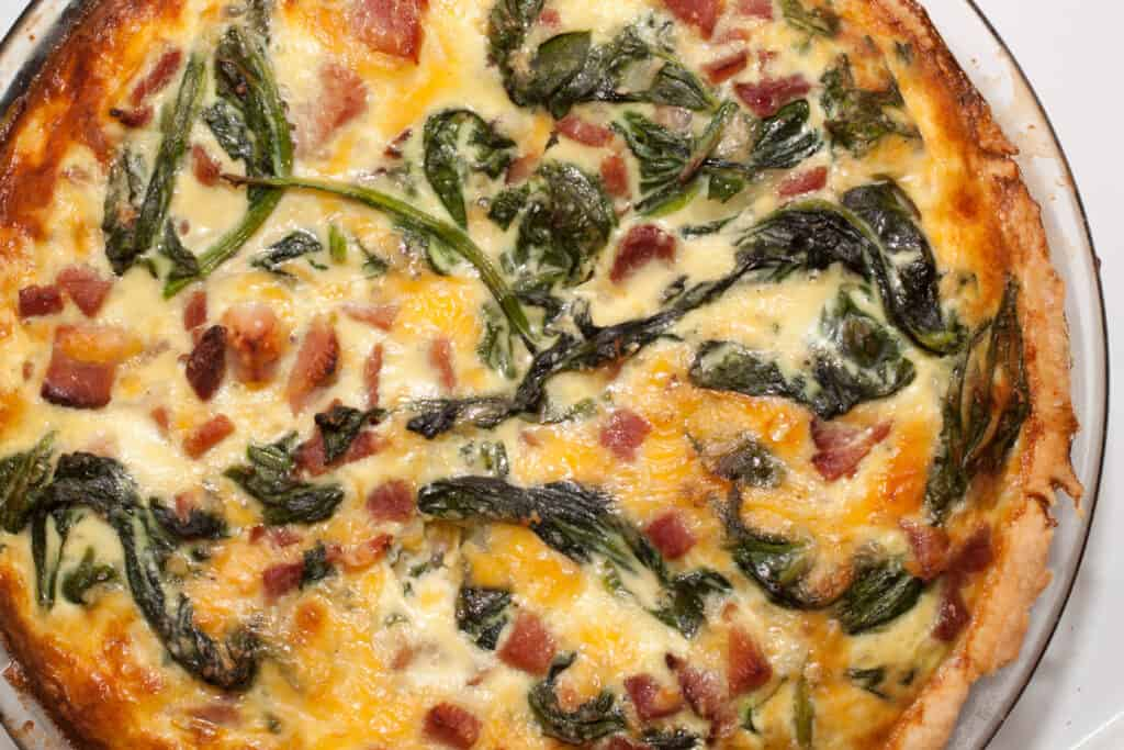 cooked spinach ham and cheddar quiche