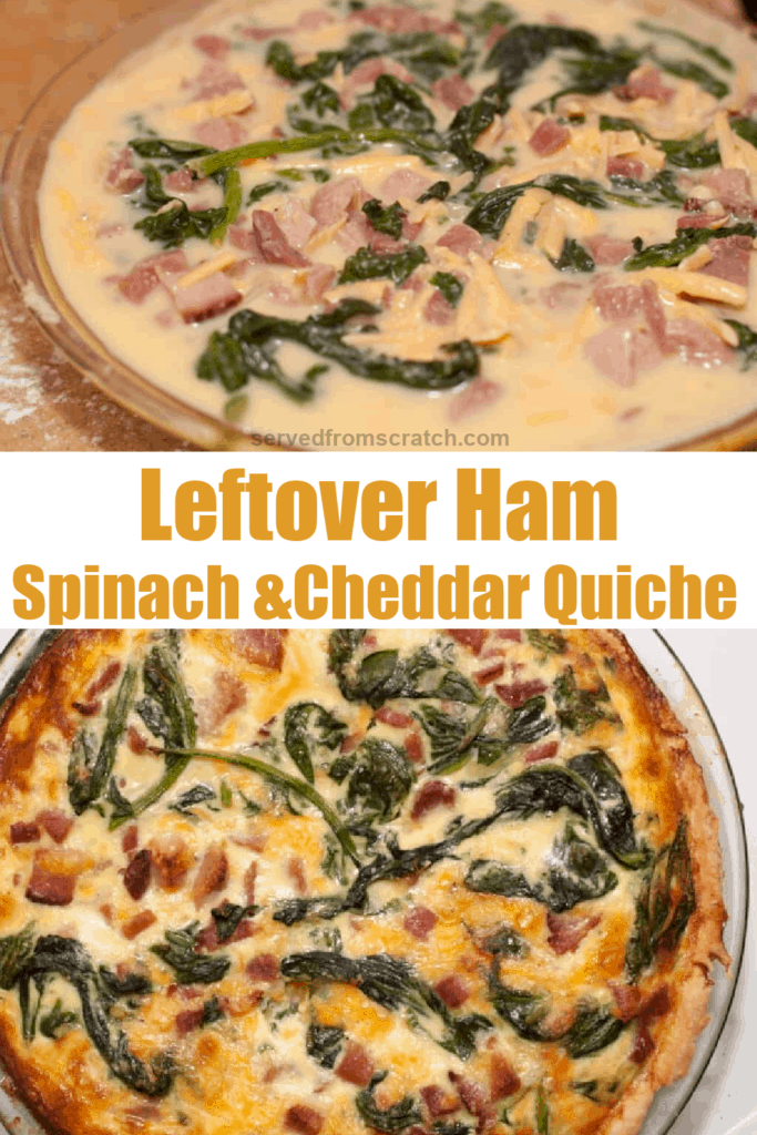 a raw quiche in a pie dish and cooked quiche with Pinterest pin text.