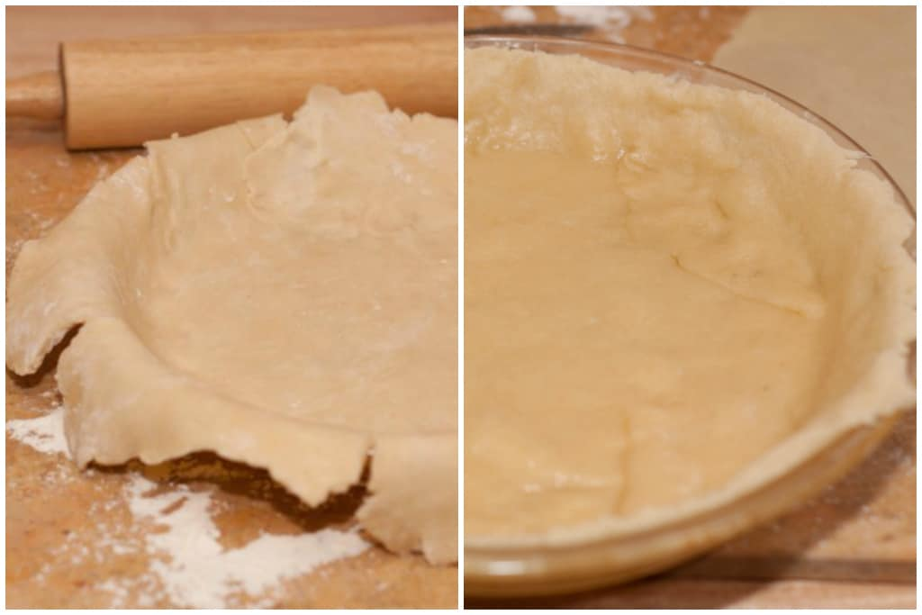 pie crust laid out in pan and then baked and trimmed