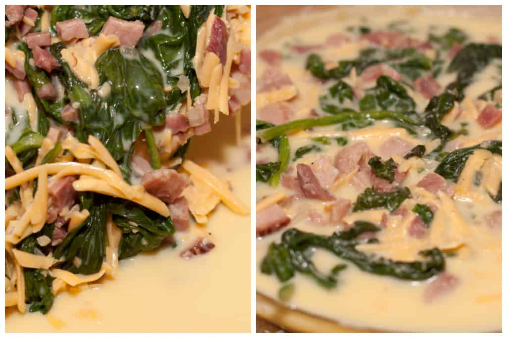 cooked spinach and ham with cheddar being added to pie dish with whisked eggs