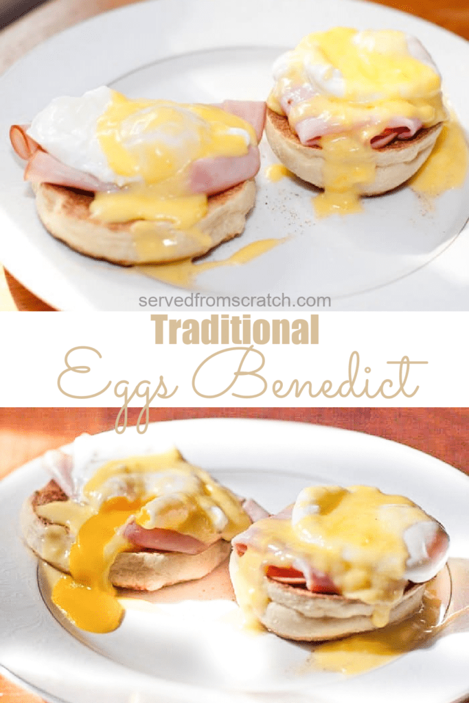 two plates of eggs benedicts with one broken yolk and Pinterest pin text.