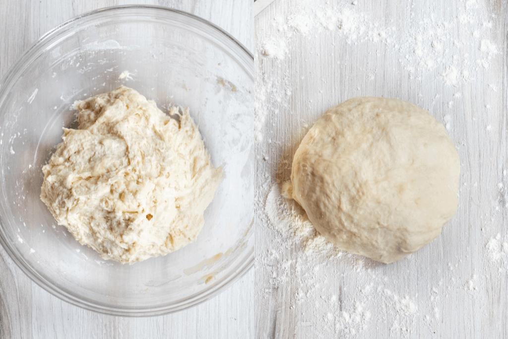 a bowl of rough dough and a ball of dough on a counter.