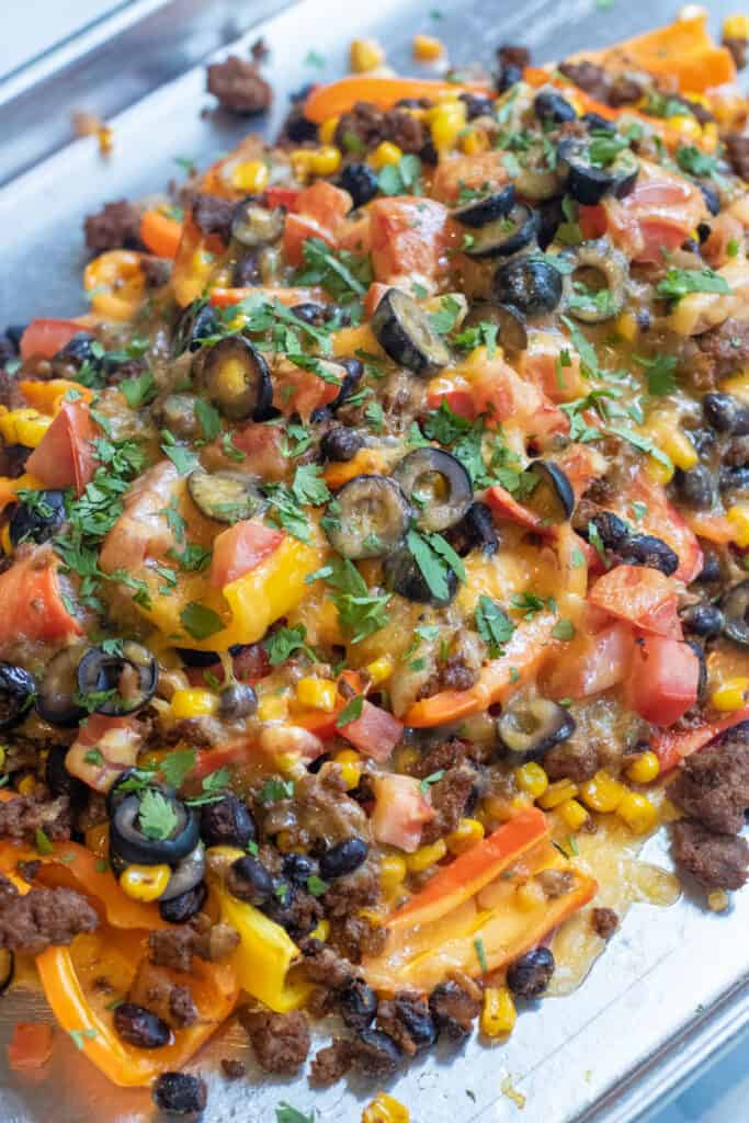 a plate of nachos with meat, olives, and taco meat and tomatoes.
