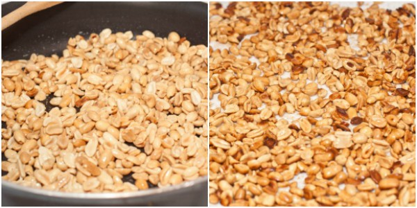 peanuts frying in pan and peanuts on a towel