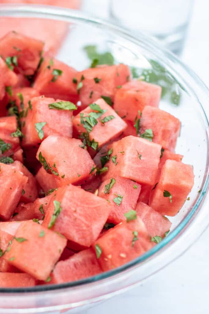 minced watermelon in a bowl topped with mint