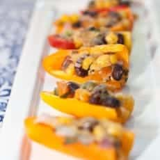 mini peppers with black bean salsa and cheese