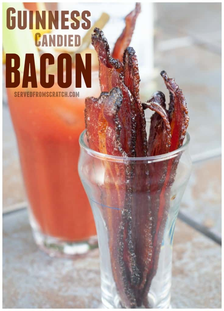 a cup of bacon in front of a bloody mary