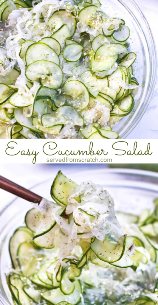 chopsticks holding thinly sliced cucumbers in a bowl with Pinterest pin text.