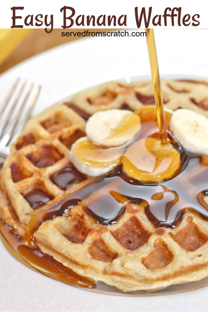 maple syrup being poured on banana waffles.