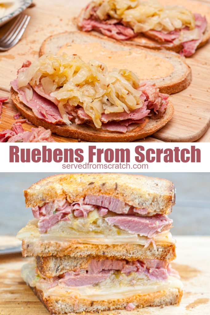 reuben sandwich being assembled and cut and stacked.