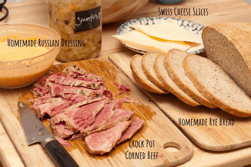 russian dressing, corned beef, rye bread, swiss cheese, sauerkraut