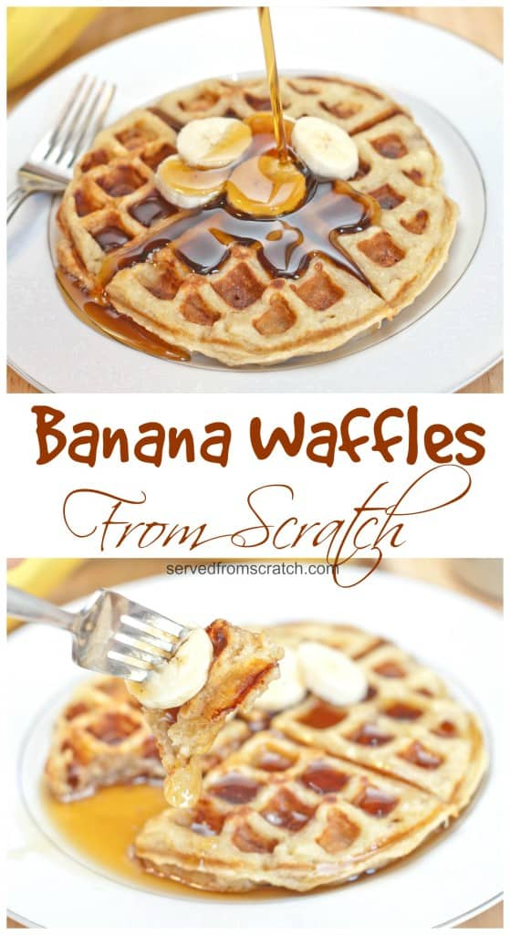The perfect weekend brunch made at home, Homemade Banana Waffles from scratch! #waffles #fromscratch #breakfast #brunch #bananawaffles