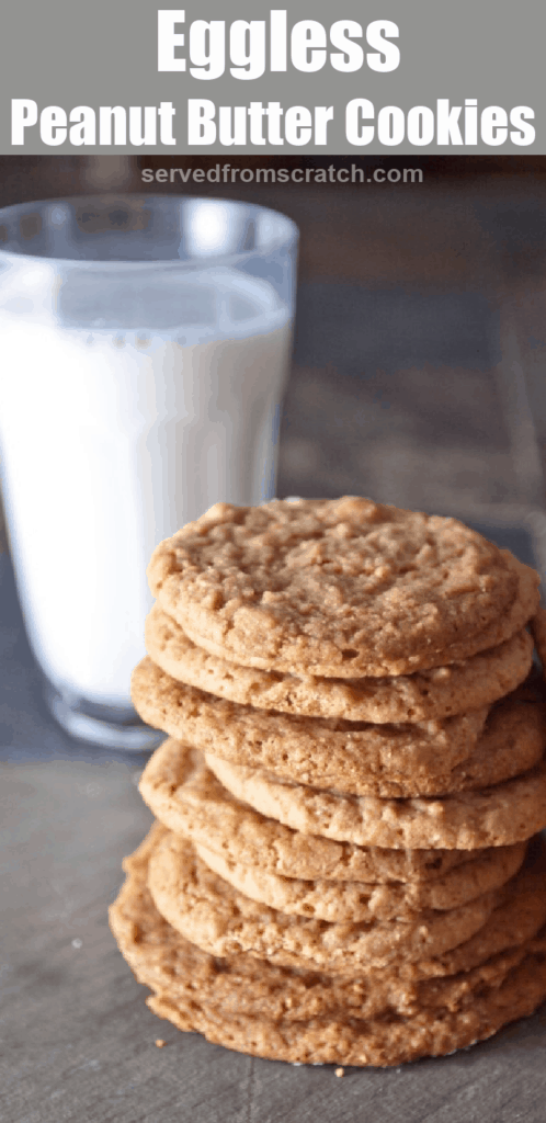 a stack of thin cookies next to a glass of milk