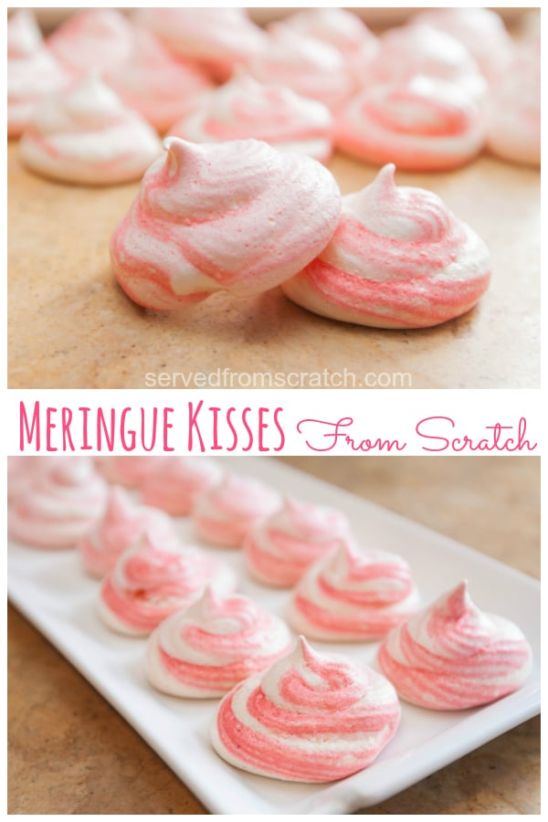 a pink striped meringue cookie