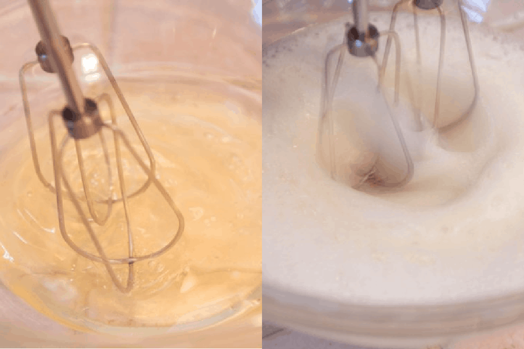 two bowls with hand mixer mixing egg whites