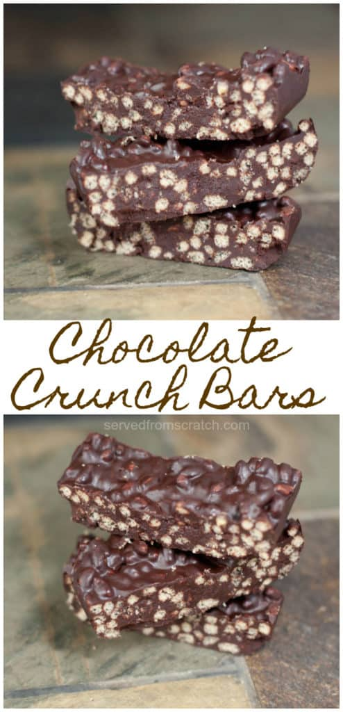 stacked chocolate crunch bars.
