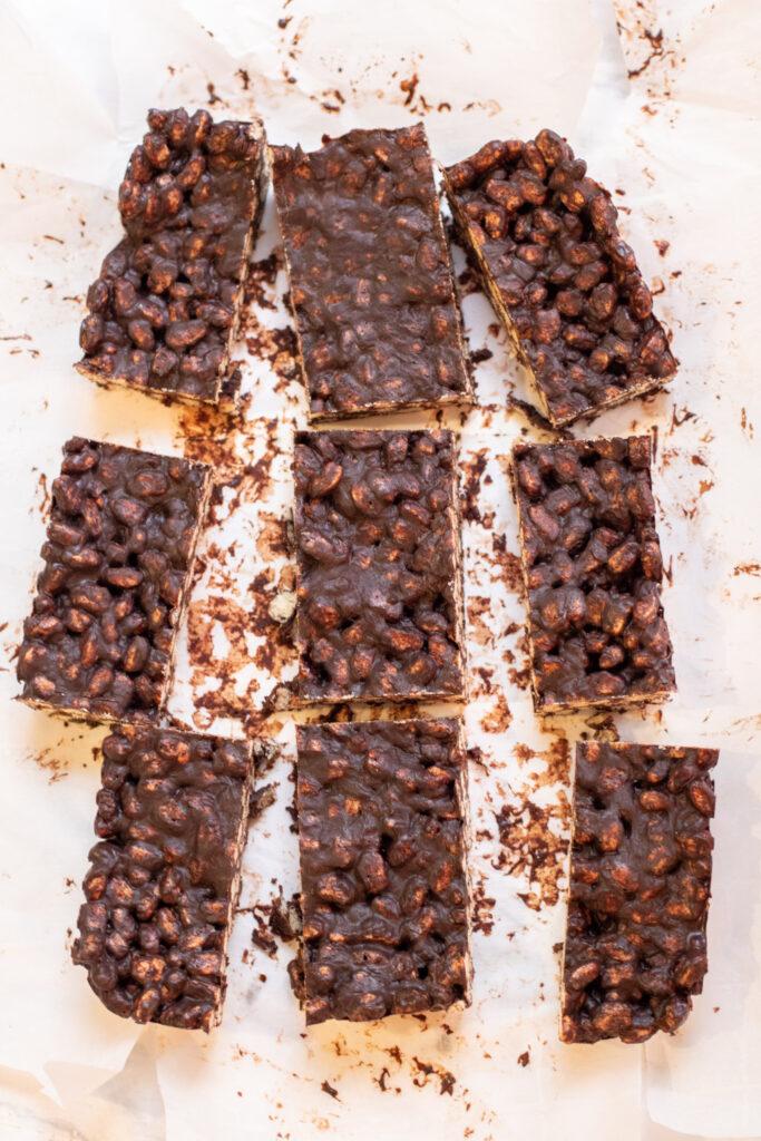 overhead of sliced crunch bars