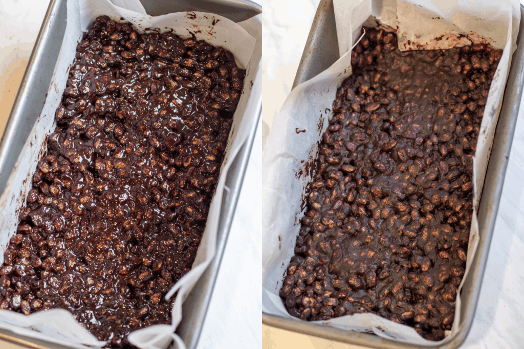 a loaf pan with chocolate covered rice cereal and another frozen