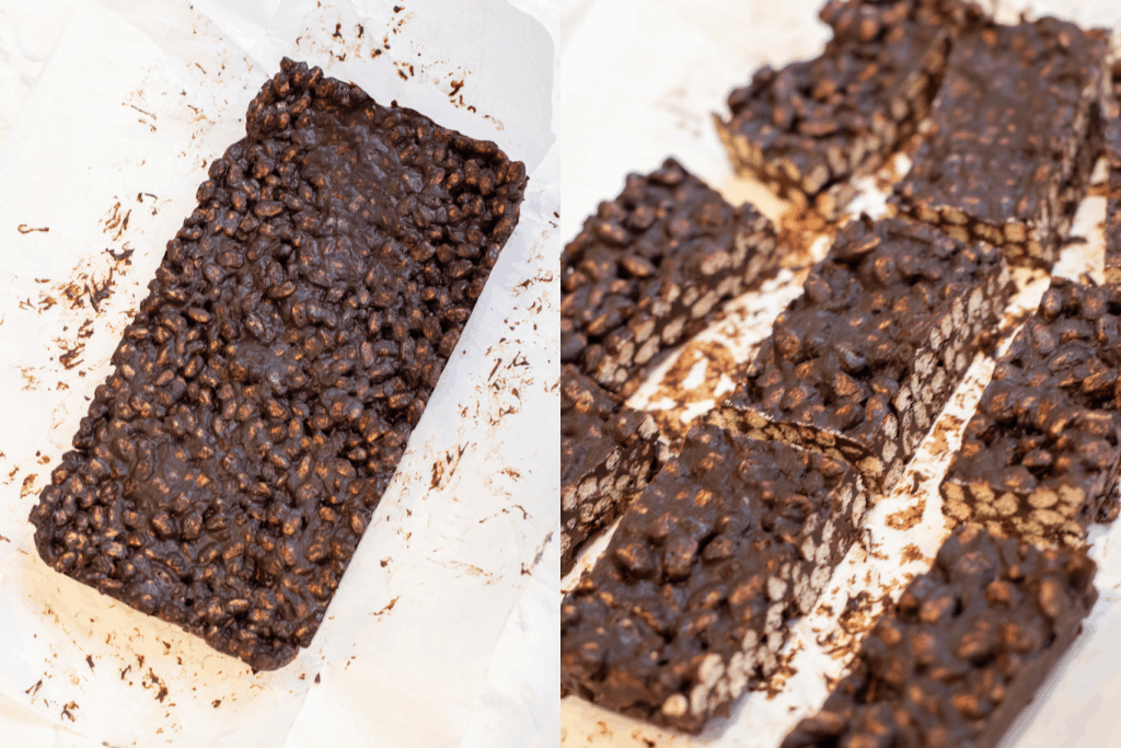 frozen rectangle of crunch bars and then sliced