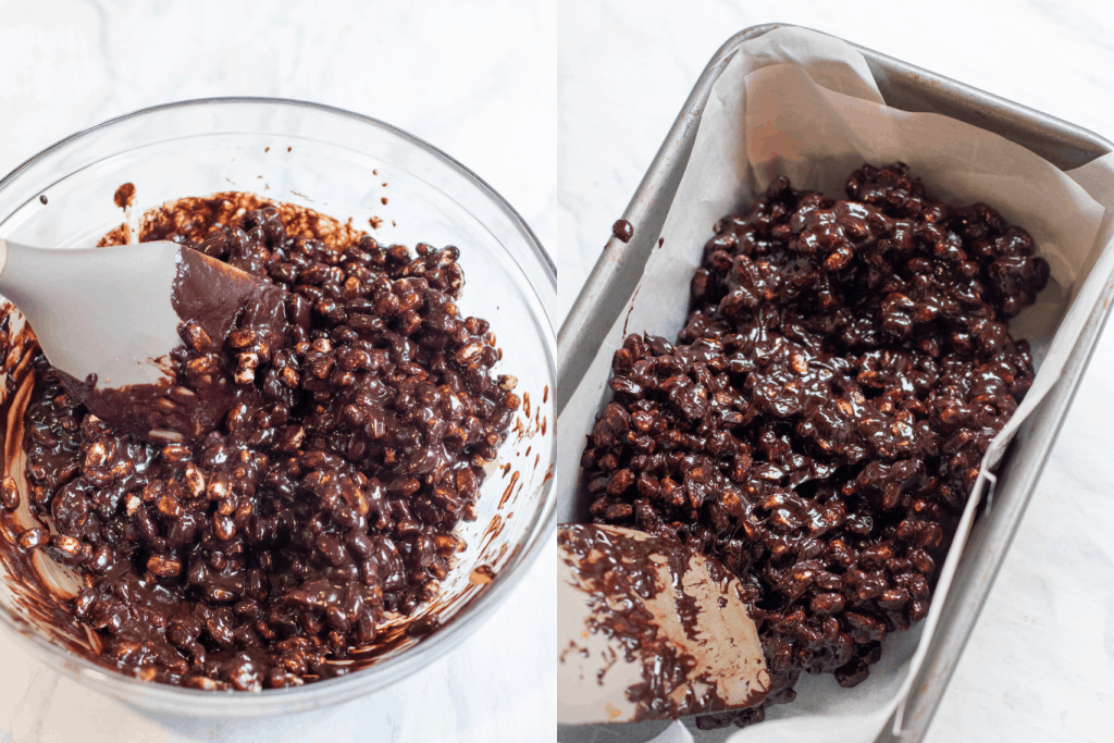bowl of chocolate covered crisps and then in a parchment lined pan