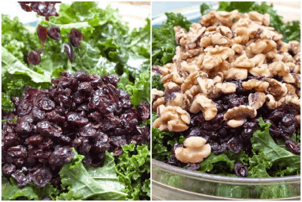 kale topped with dried cranberries and a bowl with kale and cranberries and walnuts