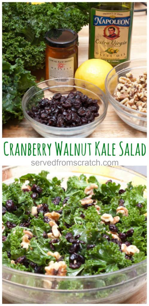 cranberries, honey, kale, olive oil, lemon and walnuts on counter and then all mixed in a salad with pinterest pin text.