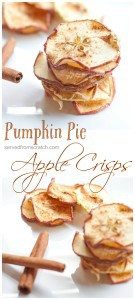 Crisp, flavorful, dehydrated, HEALTHY, vegan and gluten free Pumpkin Pie Apple Crisps. The perfect sweet fall snack!!