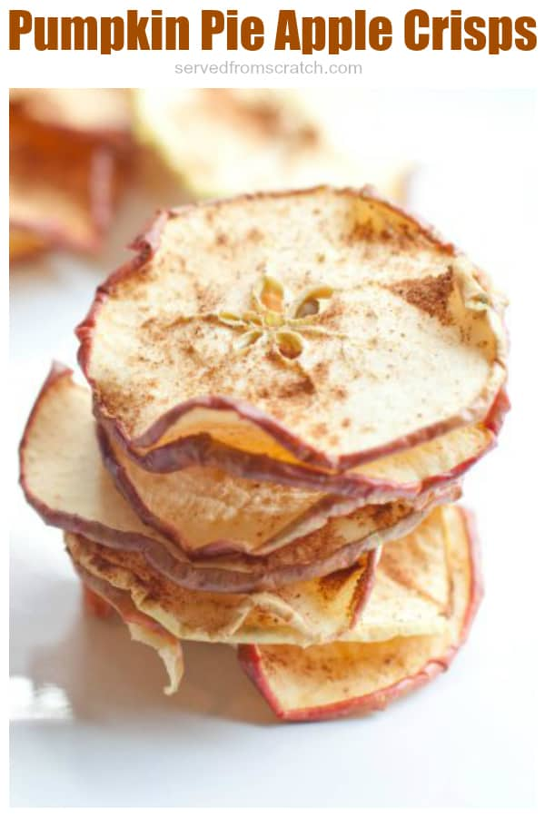 stacked dried apple crisps with pumpkin pie spice