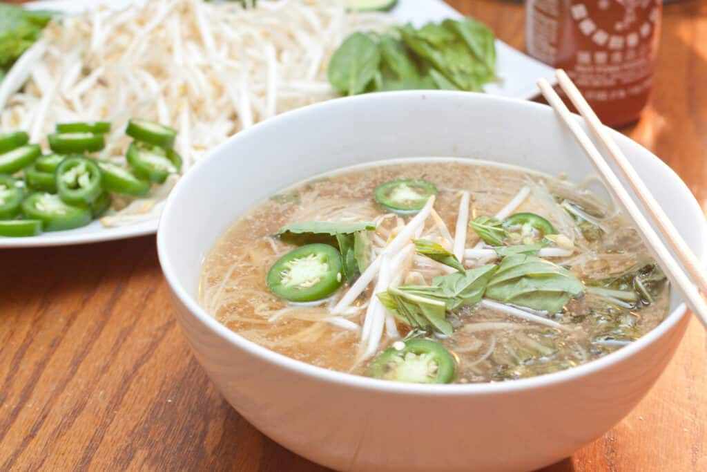 a bowl of chicken pho.