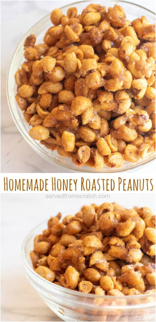 honey roasted peanuts in a bowl