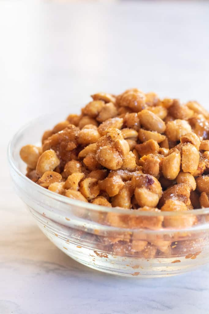 a bowl of honey roasted peanuts