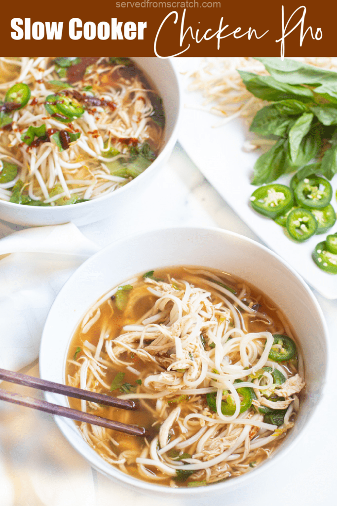 a bowl of pho with chopsticks and Pinterest pin text.