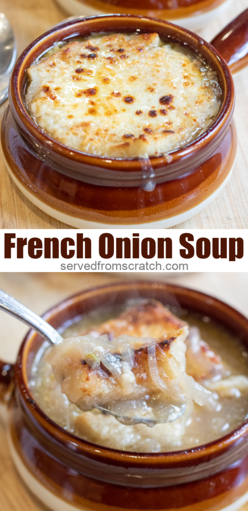 crocks of soup topped with cheese and onions with Pinterest pin text.