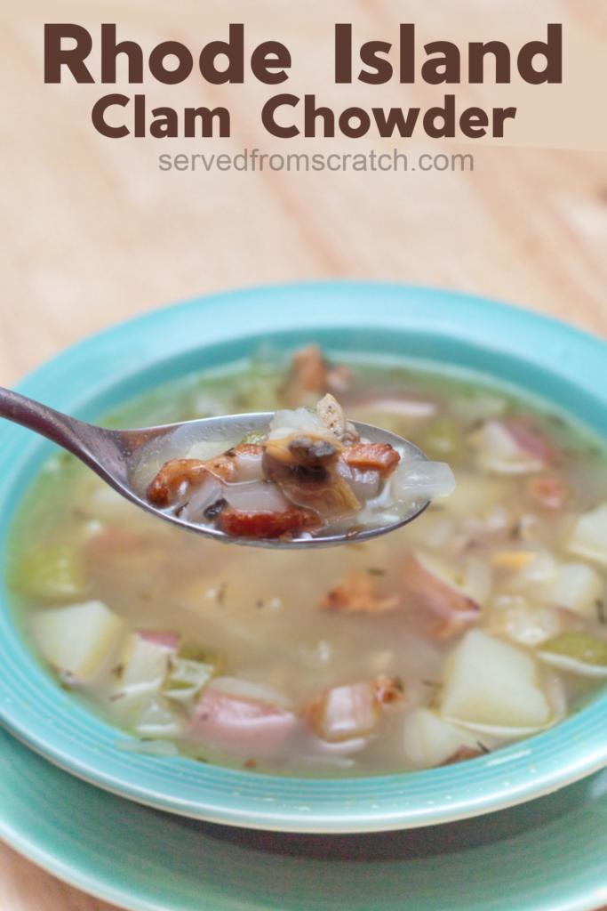 bowl of clear broth clam chowder