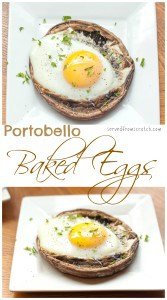 """Start your day right with a hearty Vegetarian Breakfast by baking your egg right in a """"meaty"""" Portobello Mushroom!"""