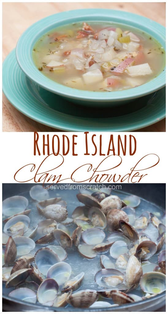 bowl of soup and clams being steamed
