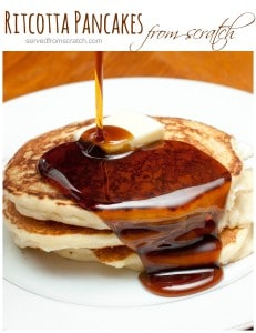 Kick up your boring pancakes with some homemade ricotta cheese for some rich fluffly Ricotta Pancakes From Scratch!