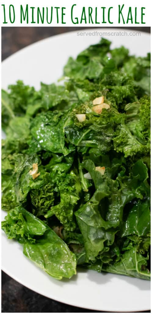 cooked garlic kale in a bowl with Pinterest pin text.
