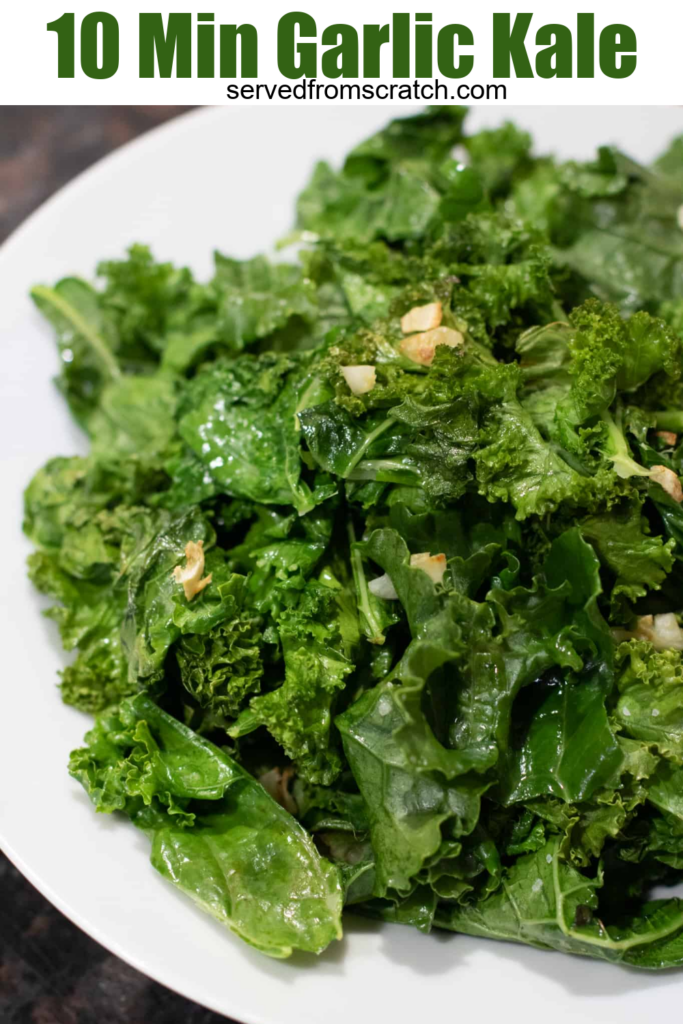 a plate of sauteed kale with garlic with Pinterest pin text.