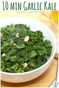 10 Minute Garlic Kale is the easiest, healthiest side dish you can make!