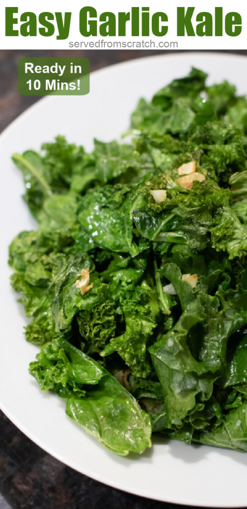 plate of sauteed kale with garlic with Pinterest pin text.