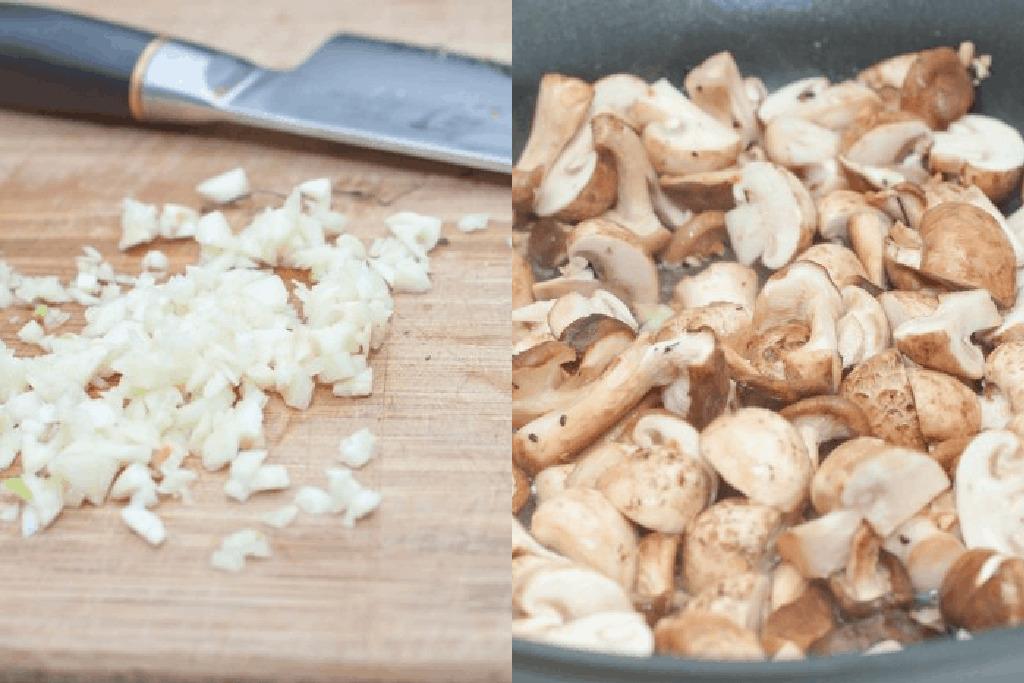 diced garlic and mushrooms sautéing in a pan