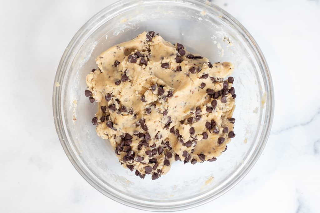 a bowl of chocolate chip cookie dough.