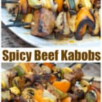 grilled spicy beef kabobs cooked and on a plate