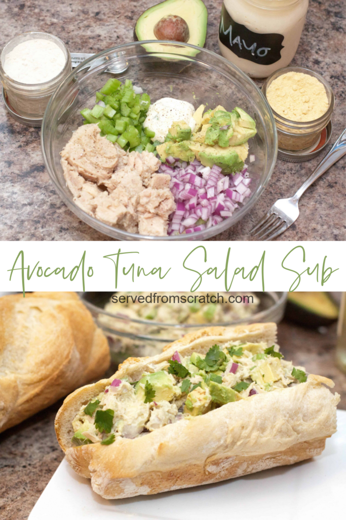 a bowl of tuna salad and a tuna salad sub