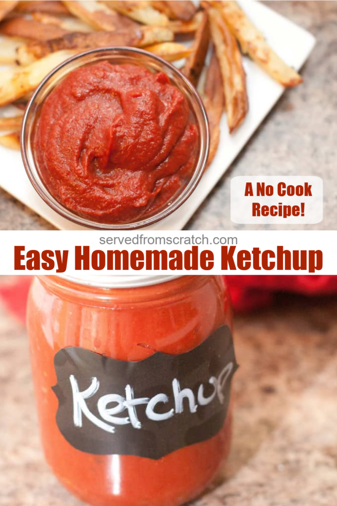 a bowl of ketchup on a plate with fries and a jar of ketchup with Pinterest pin text.