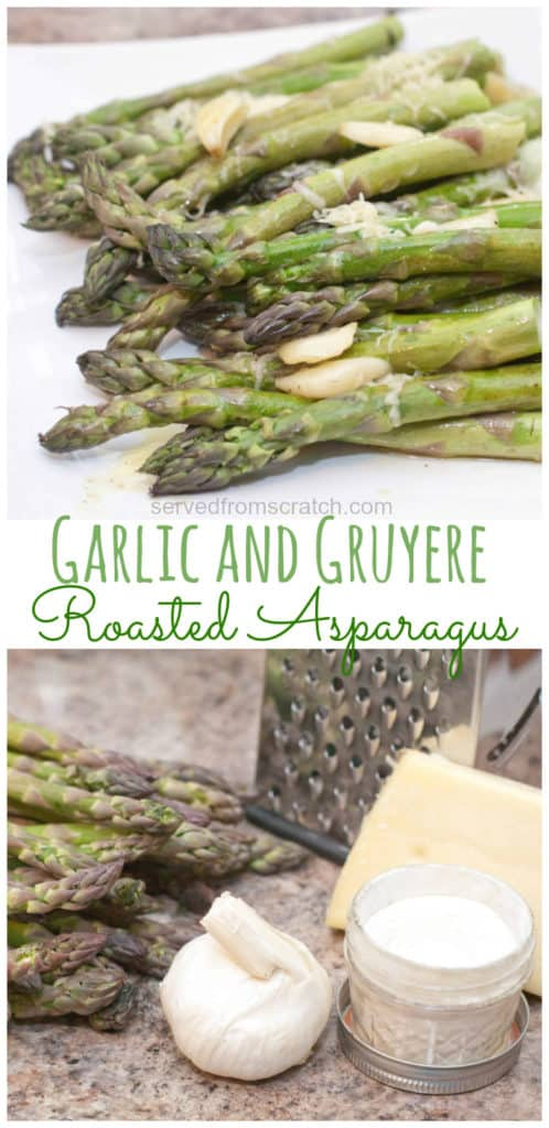 These Garlic and Gruyere Roasted Asparagus are an incredibly easy side dish to make that's full of flavor from fresh garlic and cheese!