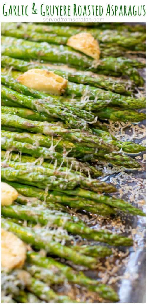 a pan of cooked asparagus with garlic and melted cheese with Pinterest pin text.