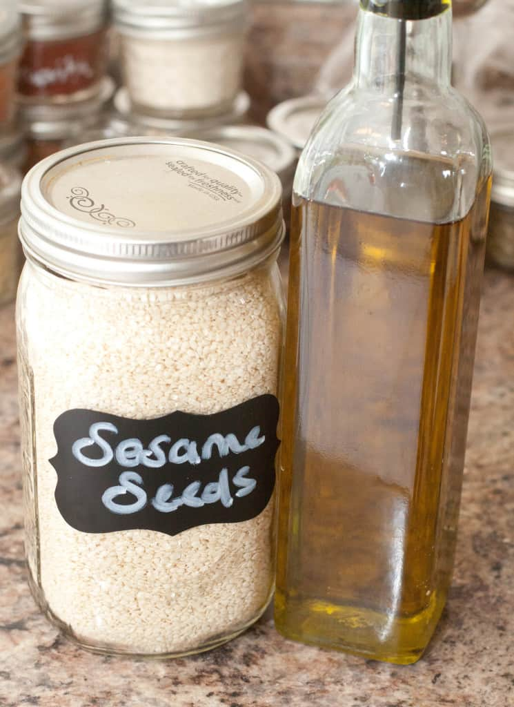 sesame seeds and olive oil